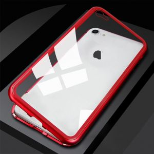 Apple iPhone XS Magnetic Metal Frame Glass Case - Red
