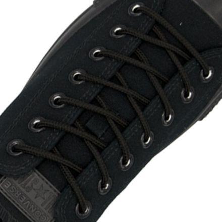 Polyester Shoelace Round - Black Length 120cm Diameter Ø4mm