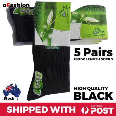 Crew Length Socks Black - 5 Pairs