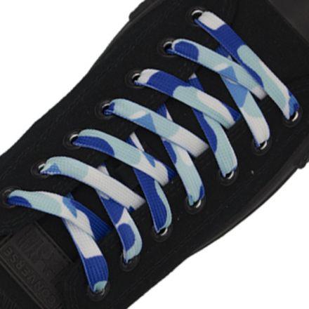 Blue Camouflage Shoelace Flat 1cm