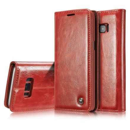Premium Red Leather Case Wallet - Apple iPhone XS CaseMe