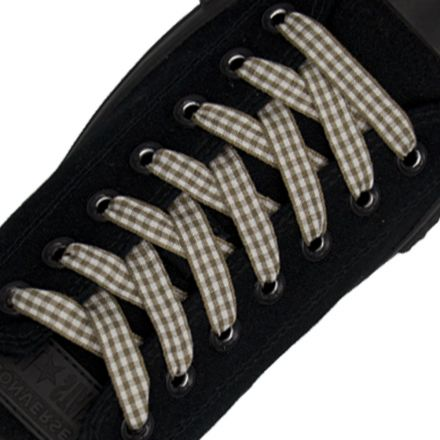 Brown Check Shoelace - 120cm Length 1cm Width Flat