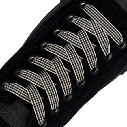 Check Shoelace - Black 120cm Length 1cm Width Flat