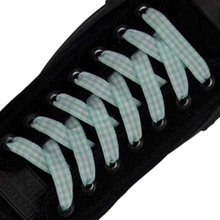 Check Shoelace - Green 120cm Length 1cm Width Flat