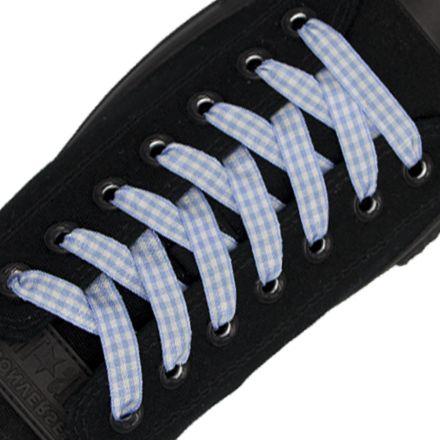 Light Blue Check Shoelace - 120cm Length 1cm Width Flat