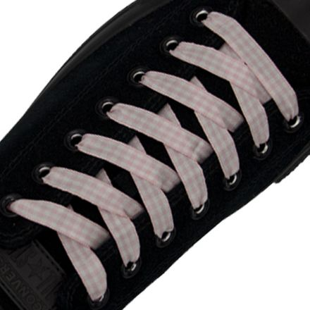 Check Shoelace - Light Pink 120cm Length 1cm Width Flat