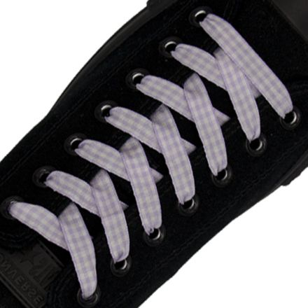 Check Shoelace - Light Purple 120cm Length 1cm Width Flat