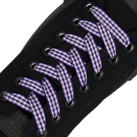 Dark Purple Check Shoelace - 120cm Length 1cm Width Flat