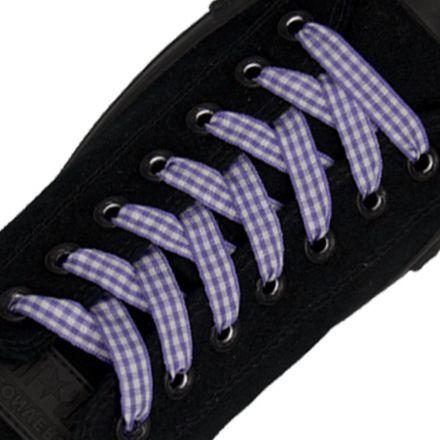 Check Shoelace - Purple 120cm Length 1cm Width Flat