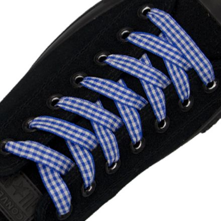 Check Shoelace - Royal Blue 120cm Length 1cm Width Flat