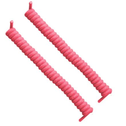 Curly Elastic No Tie Shoelace Pink Laces