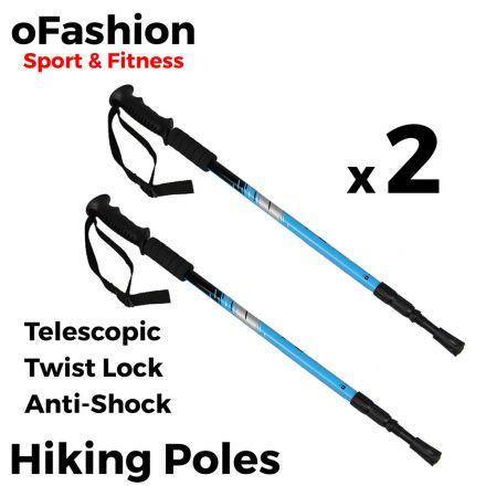 Hiking Trekking Walking Poles - Soft Grip Twist Lock Blue Main Banner