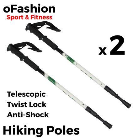 Hiking Trekking Walking Poles - Soft Grip Twist Lock White Main Banner