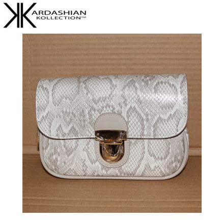 White Snake Sling Bag - Kardashian Kollection Handbags - Main Front
