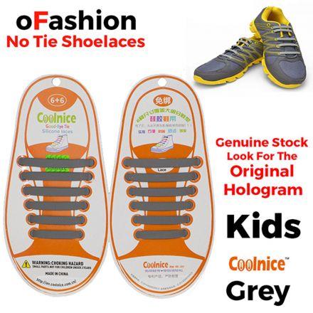 No Tie Shoelaces Silicone - Grey 12 Pieces for Kids