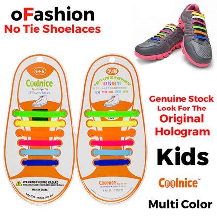 No Tie Shoelaces Silicone - Multi Colour 12 Pieces for Kids