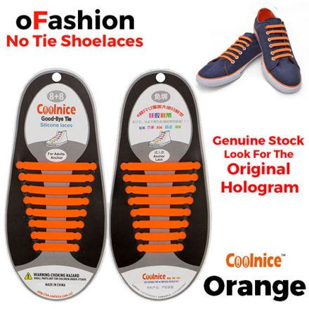 No Tie Shoelaces Silicone - Orange 16 Pieces for Adults - Main Page