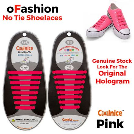 No Tie Shoelaces Silicone - Pink 16 Pieces for Adults
