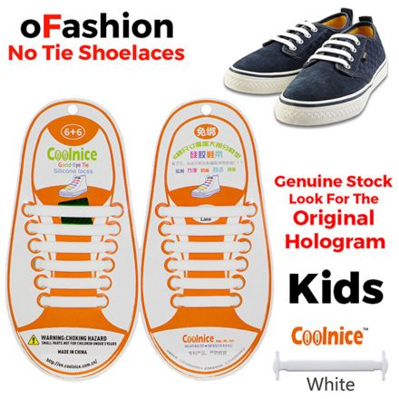No Tie Shoelaces Silicone - White 12 Pieces for Kids