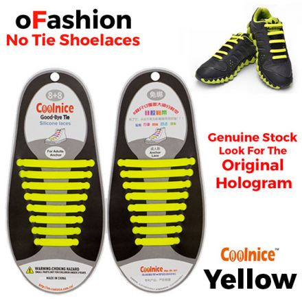 No Tie Shoelaces Silicone - Yellow 16 Pieces for Adults - Main