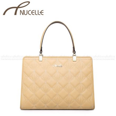 Apricot Leather Tote Bag - Nucelle Handbags - Front