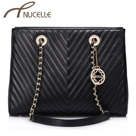 Black Leather Medium Shoulder Bag - Nucelle Handbags - Front