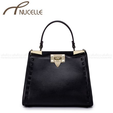 Black Rivet Kitten Leather Tote Bag - Nucelle Handbags - Front