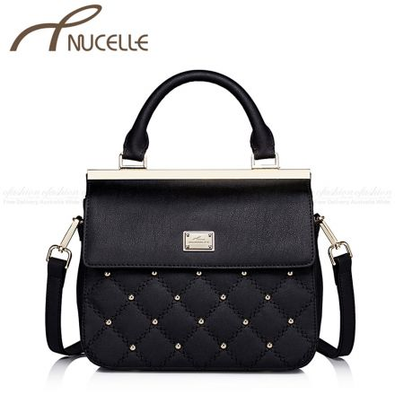 Black Small Sweet Leather Messenger Bag - Nucelle Handbags - Front