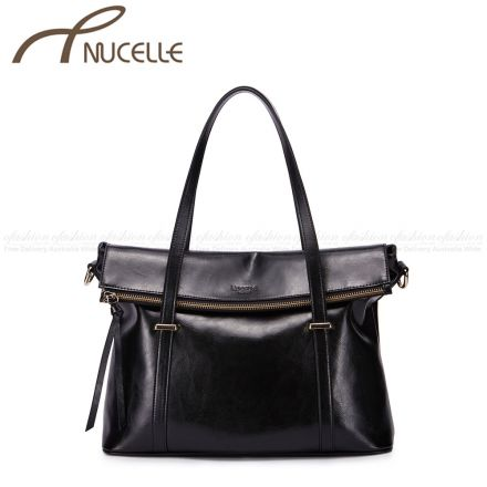 Black Vacation Tote Bag - Nucelle Handbags - Front