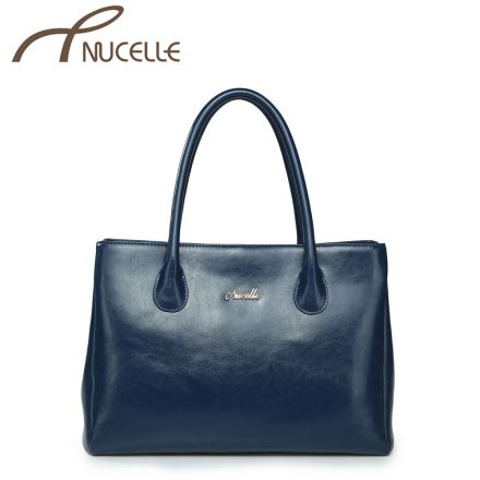Blue Leather Medium Tote Bag - Nucelle Handbags