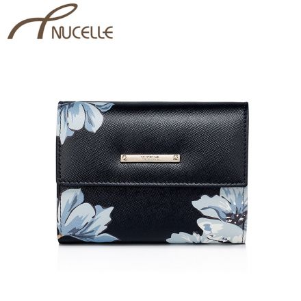 Black Floral Small Wallet - Nucelle Purse - Front