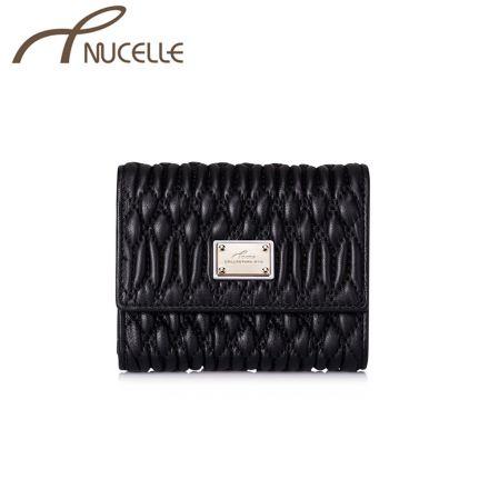 Black Short Leather Wallet - Nucelle Purse - Front