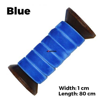 Velvet Ribbon Shoelaces - Blue L: 80cm W: 1cm