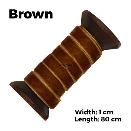 Velvet Ribbon Shoelaces - Brown L: 80cm W: 1cm