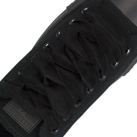 Satin Ribbon Shoelaces - Black 2cm Width