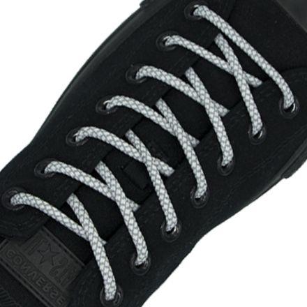 Reflective Shoelaces Round White 100 cm - Ø5mm Cross