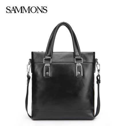 Black Outfit Leather Tote Bag - Sammons Bags - Front