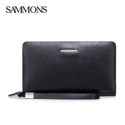 Black Louis Leather Zipper Mens Wallet - Sammons Wallet - Front