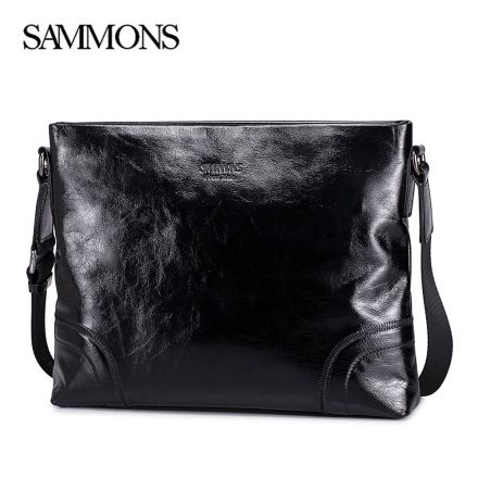 Black Luxury Messenger Bag - Sammons Bags - Front