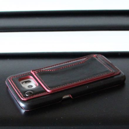 Samsung Galaxy S6 - Badboy Black Red Leather Cover Case Back Side