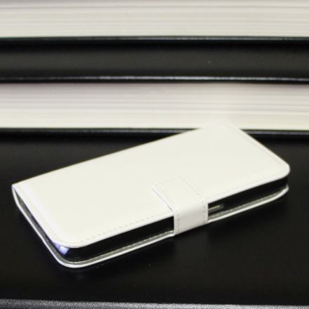 Samsung Galaxy S6 - Classic White Leather Case Wallet Front Side