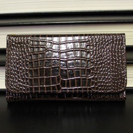 Samsung Galaxy S7 - Croco Pattern Brown Leather Wallet Case Front