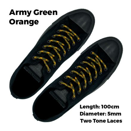 Two Tone Bootlace Shoelace Army Green Orange 100cm - Ø5mm