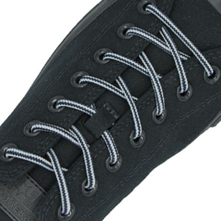 Two Tone Bootlace Shoelace Black White 100cm - Ø4mm