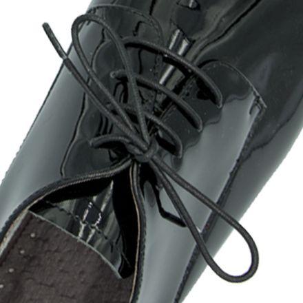 Waxed Cotton Dress Shoelaces - Black 100cm Length 3mm Round