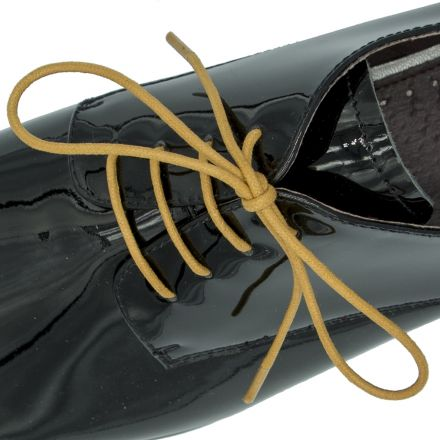 Waxed Cotton Dress Shoelaces - Light Brown 100cm Length 3mm Round