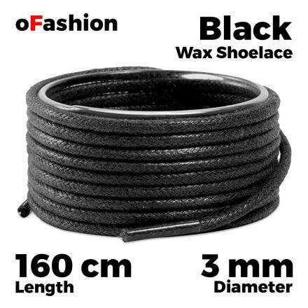 Waxed Cotton Boot Sneaker Shoelaces - Black 160cm Round oFashion