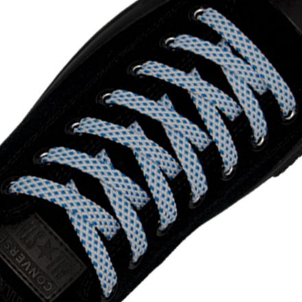 Spotted Shoelace - White with Blue Spots Flat Length 120 cm Width 1cm