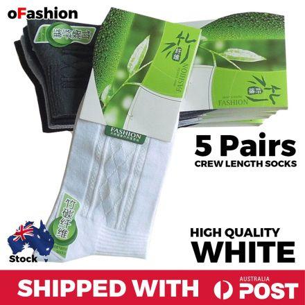 Crew Length Socks White - 5 Pairs