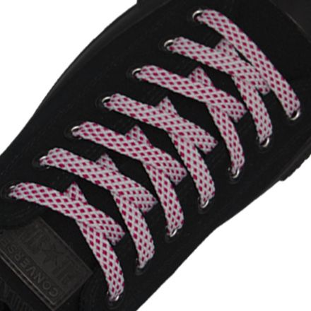 Spotted Shoelace - White with Pink Spots Flat Length 120 cm Width 1cm